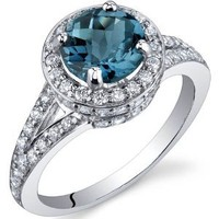 London Blue Topaz Halo Ring Sterling Silver Rhodium Nickel Finish 1.50 Carats Size 9
