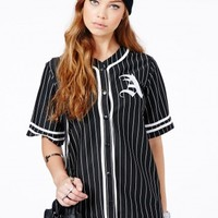 Missguided - Paris Oversized A Baseball Shirt Dress In Black