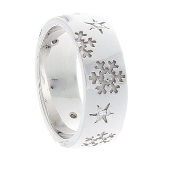Snowflake ring, diamond wedding band, anniversary gift , 14k white gold