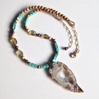 Stardust Gold Beaded Necklace Genuine Cube Turquoise Faceted Citrine Druzy Oco Agate Copper Pearls Picture Jasper