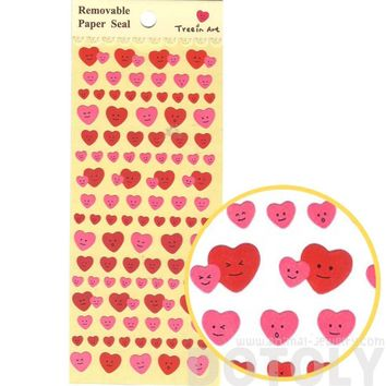Small Heart Shaped Smiley Face Stickers in Pink and Red for Scrapbooking and Decorating