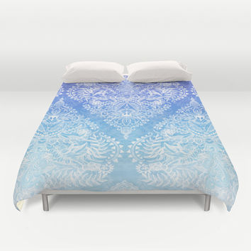 Out of the Blue - White Lace Doodle in Ombre Aqua and Cobalt Duvet Cover by Micklyn