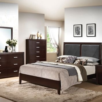 Acme 21420Q 5 pc ajay collection espresso finish wood queen bed set with black leather like vinyl panel headboard