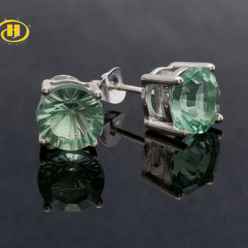 Hutang 5.14 ctw Natural Green Fluorite Round 8 MM 925 Sterling Silver Stud Earrings for Women Butterfly Clasp