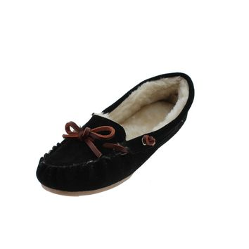 G.H. Bass & Co. Womens Suede Indoor/Outdoor Moccasin Slippers
