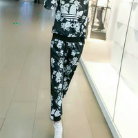 """Adidas"" Fashion Casual Clover Letter Print Long Sleeve Sweater Set Two-Piece Sportswear"