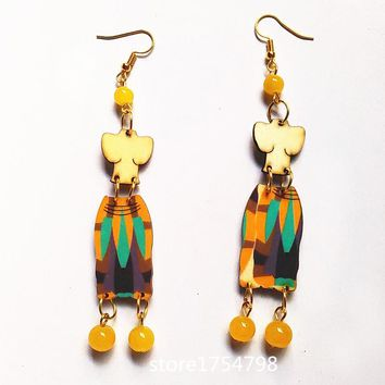 2017 New Style Carving wood Earrings Stone Beads Handmade  Earrings  Personality Laser Cut eco Friendly Wooden Bird Jewelry