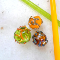 Glass Lampwork Beads, Handmade Glass Bead Supplies, Handblown Hollow Beads, Handmade Glass Bead Trio for Handmade Jewelry
