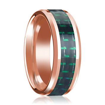 Black & Green Carbon Fiber Inlaid Men's 14k Rose Gold Polished Wedding Band with Beveled Edges - 8MM