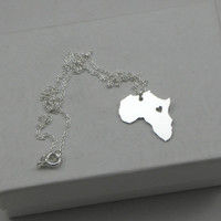 Africa Love Heart Necklace - Sterling Silver Personalized Continent