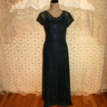 Vintage Navy Blue Formal Dress Sparkly Maxi Dress Long Blue Dress Short Sleeve Formal New Years Eve Size 4 Size 6 Small Womens Clothing