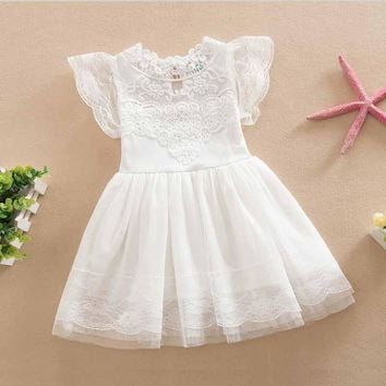 2-6y toddler girls Clothings hot sale kids lace Dress Vintage Ruffles Sleeve Clothes Princess Girl Party/birthday Costumes