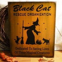 Halloween Sign Black Cat Rescue Organization by 2chicksandabasket