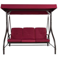 Burgundy 3 Seat Converting Outdoor Patio Swing Hammock With Canopy Sun Shade