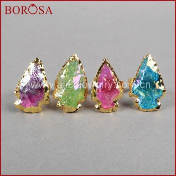 BOROSA Fashion Arroehead Ring ,new Rainbow Titanium Color Quartz arrowhead Ring Quartz Druzy Stone Ring Best Gift Women G826