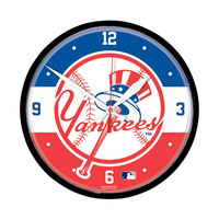 New York Yankees MLB Round Wall Clock (Top Hat)
