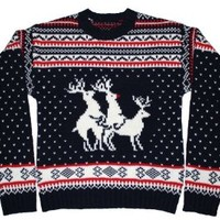 Ugly Christmas Sweater - Reindeer Threesome Sweater Featuring Rudolph By Festified (2X-Large)