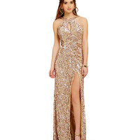 MAC by Mac Duggal Metallic Sequin Cowl-Back Gown | Dillards