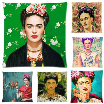 Frida Kahlo Cushion Cover Pillow Case Firm Flower self-portrait Sofa Butterfly