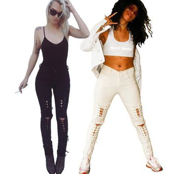 VONE2B5 New american apparel Women stretch cotton white designer sexy skinny lace-up ripped jeans pants High waist small bottom z084