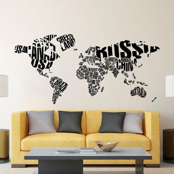 Wall Decal World Map - Letters World Map Wall Decal- Large Wall Map With Countries Decals Living Room Office Travel Wall Art Home Decor C128