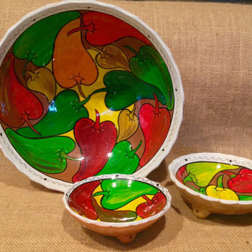 Chip & salsa set of 3 bowls