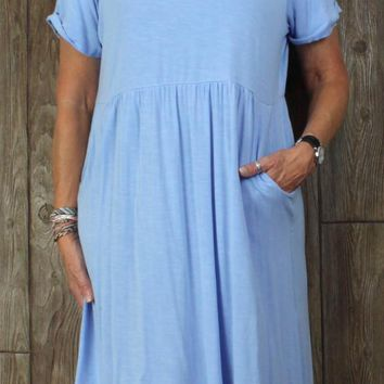 Nice J Jill Casual Dress L size Light Blue Womens Stretch Comfort Pockets