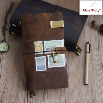 100% Genuine Leather Traveler's Notebook Diary Journal Vintage Handmade Cowhide gift travel notebook free lettering embosse