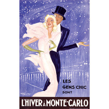 L'Hiver A Monte-Carlo by Artist Jean Gabriel Domergue Wood Sign
