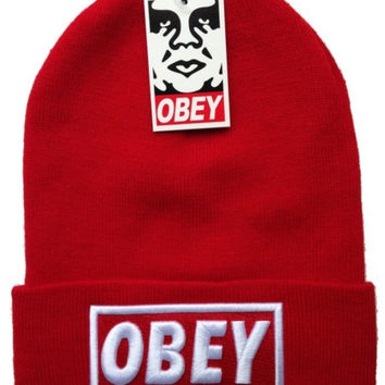 Obey Classic Red Beanie