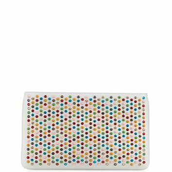 Christian Louboutin Loubiposh Spiked Clutch Bag, White/Multi