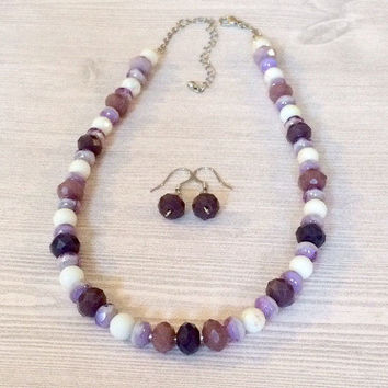 Purple Lilac Necklace Set Purple Lilac Lavender Bead Necklace Earring Set Multicolor Necklace Jewelry Set Glass Bead Necklace Gift For Her