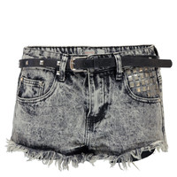 Imani Acid Wash Studded Denim Hotpants with Belt