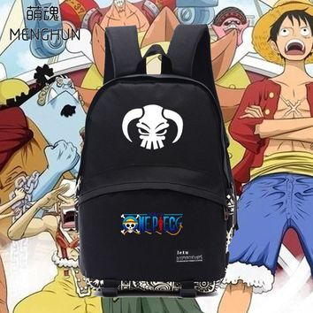 New designed One piece logo ACE/MONKEY D LUFFY/LAW/NEWGATE anime heroes printing backpacks one piece backpack for students NB054