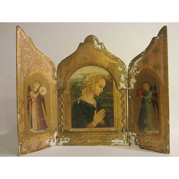 F Lippi Madonna Florence Italy Tole Triptych Gilt Decorated Marked