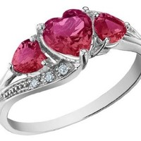 Created Ruby Heart Ring with Diamonds 1.25 Carat (ctw) in 10K White Gold
