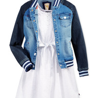 Tommy Hilfiger Girls' Denim Baseball Jacket, Tommy Hilfiger Girls' S/L Eyelet Dress