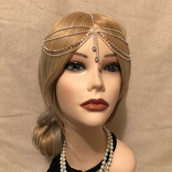 Flapper 1920s Silver Rhinestone Trim Drops Gatsby Headchain Grecian 1920s head chain headpiece piece 20s headband band Crystal Goddess (924)