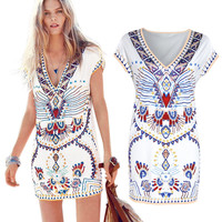 White Tribal Print V-Neck Mini Dress