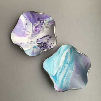 Purple Turquoise Dish, Jewelry Container, Earring Holder, Key Dish, Marbled Clay Dish, Ring Bowl, Modern Style, Handmade Gifts for Women