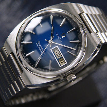 Vintage 1970's #Mens #Omega #Seamaster sports #watch with 2 Tone #Blue Dial