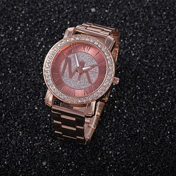 Good Price Designer's Great Deal Trendy New Arrival Gift Awesome Ladies Fashion Stylish Rhinestone Dial Diamonds Stainless Steel Band Watch [11912232531]