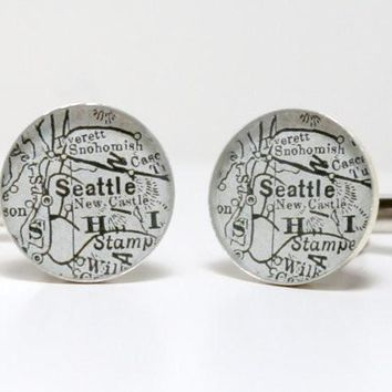 Seattle Antique Map Cufflinks