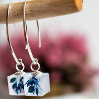 Sterling silver Earrings real Flower,  Resin dangle earrings blue flower, 925 sterling hooks, Flower in eco resin , jewelry for woman
