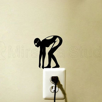 Girl Swimmer Light Switch Fabric Sticker - swimming wall Decal - Jumping Woman Arr - Swim Teen Room Decor- Diver Laptop Decal - Swimmer gift