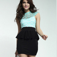 New Lace Sleeveless Printing Lotus Leaf Dress&Party Dress