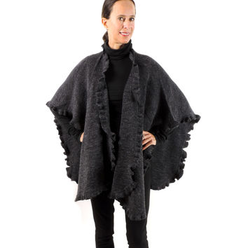 Baby Alpaca & Acrylic Wool Blend Knit Wrap with Ruffles - Charcoal