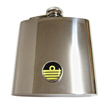 Round Nautical Captain Rank 6 Oz. Stainless Steel Flask