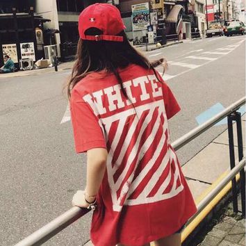 OFF-WHITE Women Men Fashion Stripe Print Short Sleeve Tunic Shirt Top Blouse