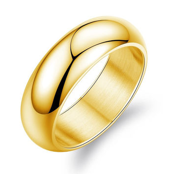 Wide Polished Wedding Band in 14k Yellow Gold 6.0mm
